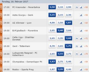Spilforslag Europa League